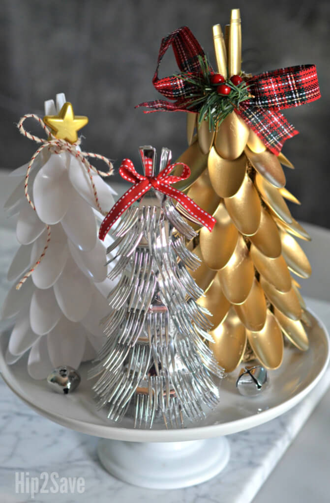 Clever Plastic Silverware Tree Centerpiece