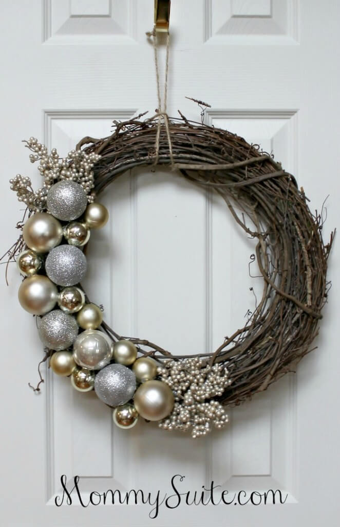 Elegant $10 Metallic Ornament Wreath