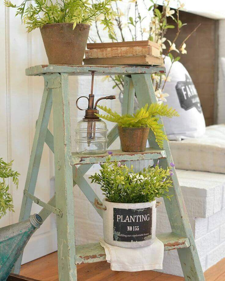 Farmhouse Step Stool Plant Rack