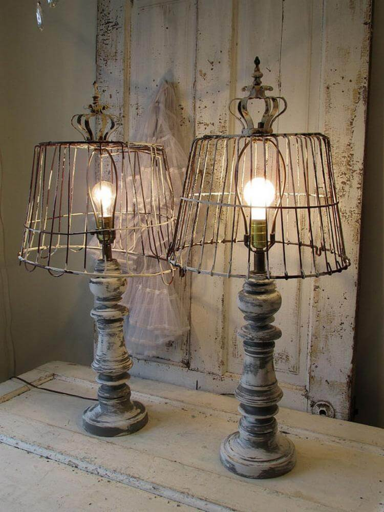 Antique Wire and Spindle Table Lamp