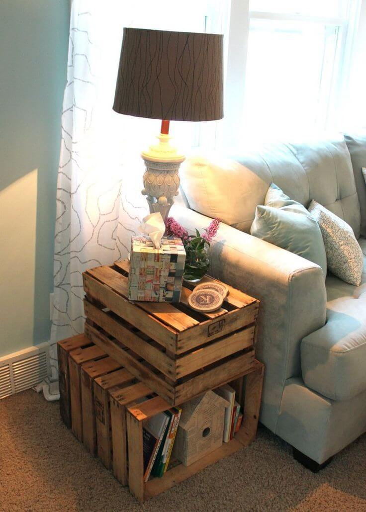 Rustic Home Decorating Ideas Living Room Part - 40: 8. Industrial Stacking Crates Side Table Concept