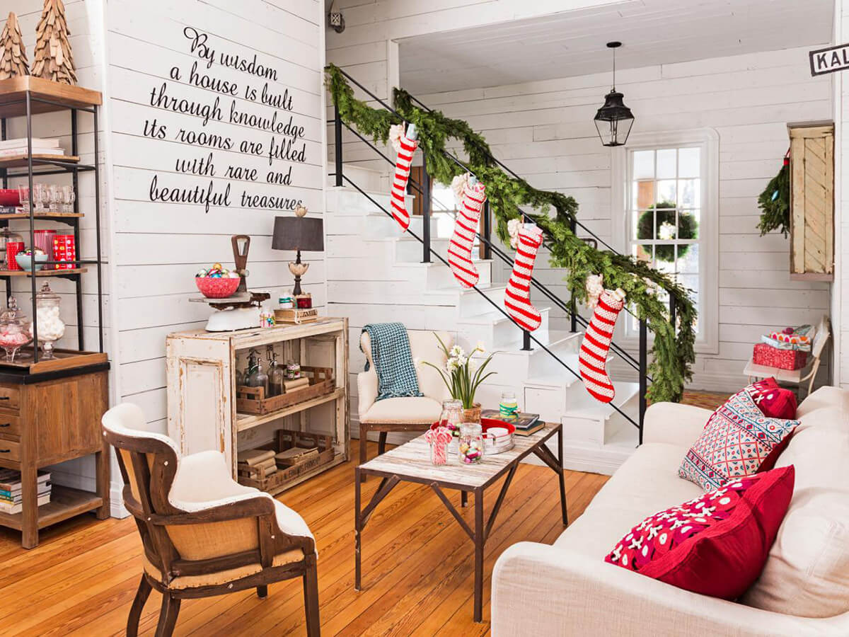 9 striped stockings march downstairs - How To Decorate Living Room For Christmas