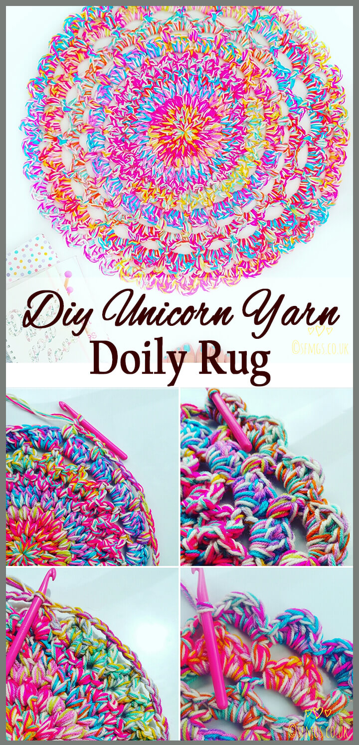 Unicorn Colored Giant Yarn Doily