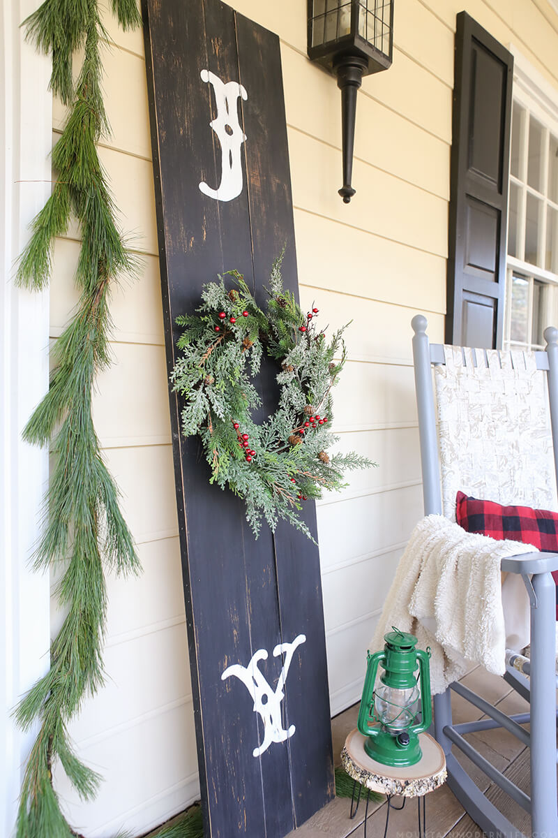 Wood Plank Front Porch Christmas Sign