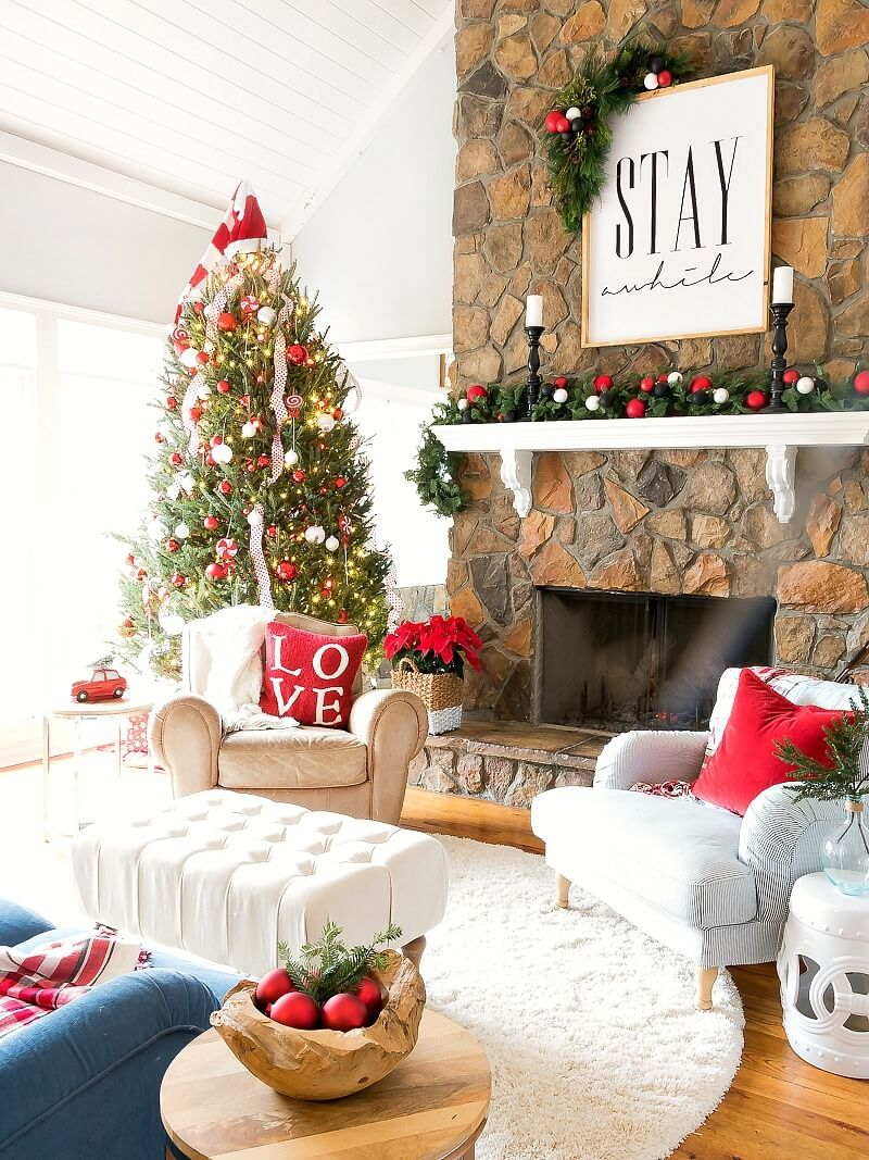 10 red and white balls on pine - How To Decorate Living Room For Christmas