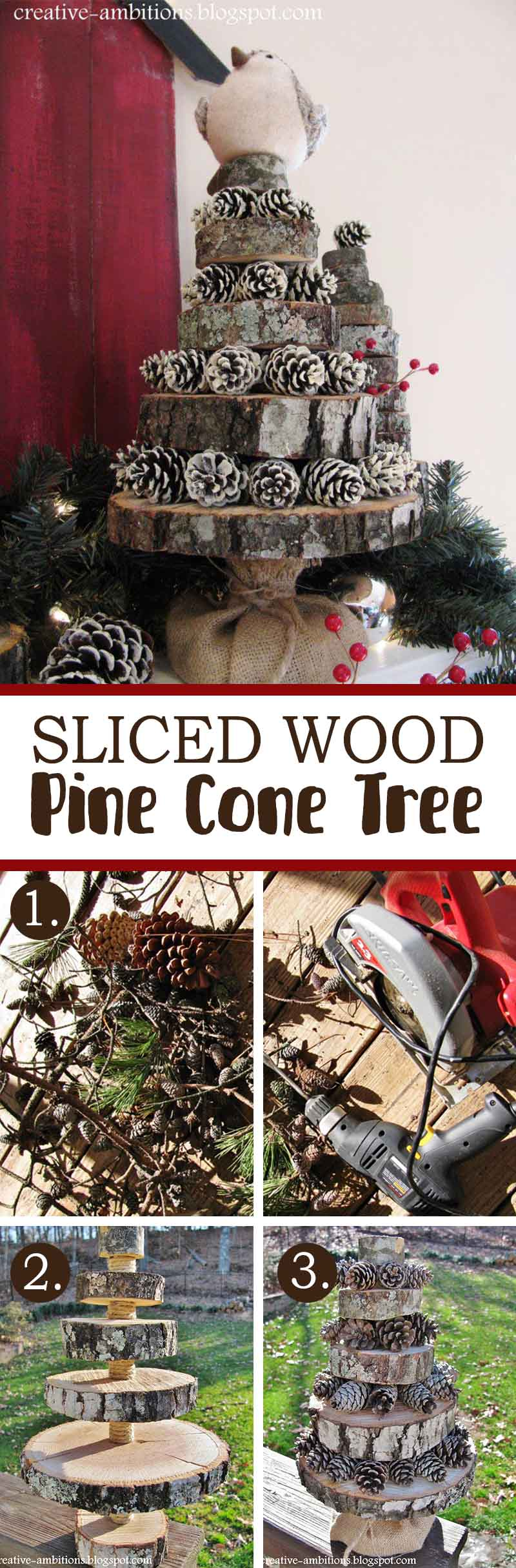 Sliced Wood Pine Cone Tree