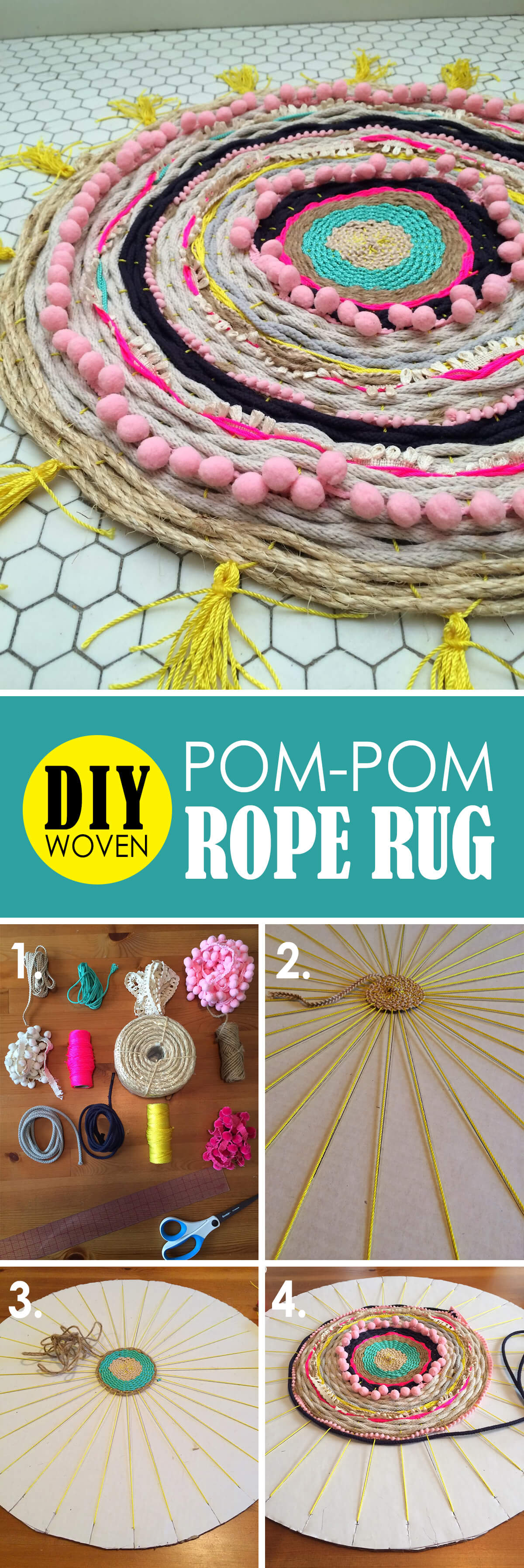 Alternating Rope and Pom-Pom Design