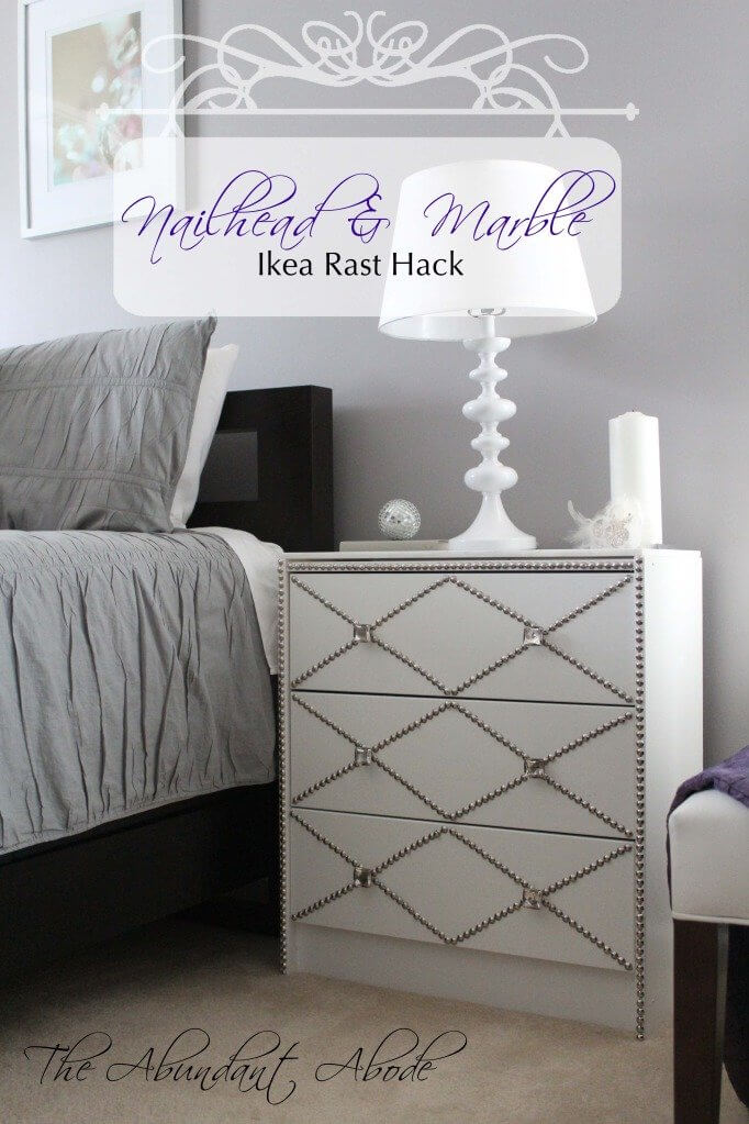 Elegant and Bejeweled White Night-Stand