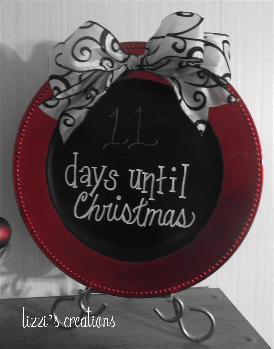 Easy Chalkboard Christmas Countdown Plate