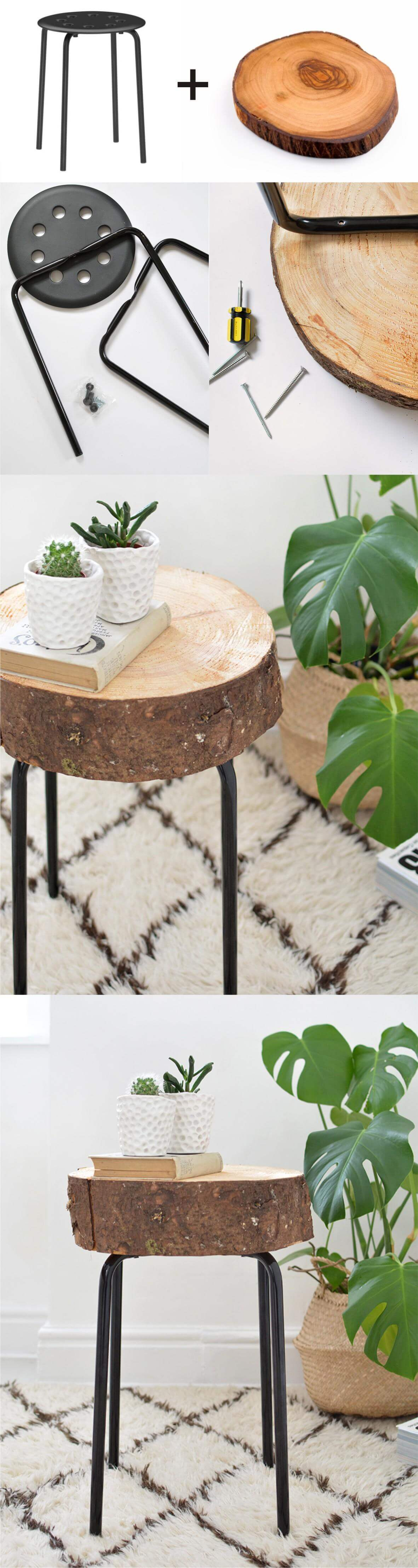 IKEA Stool and Tree-Stump Succulent Stand
