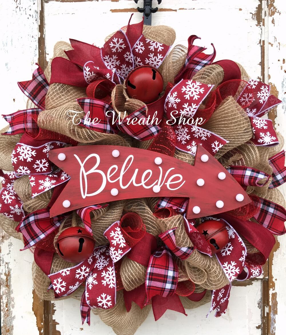 believe in christmas patterns wreath