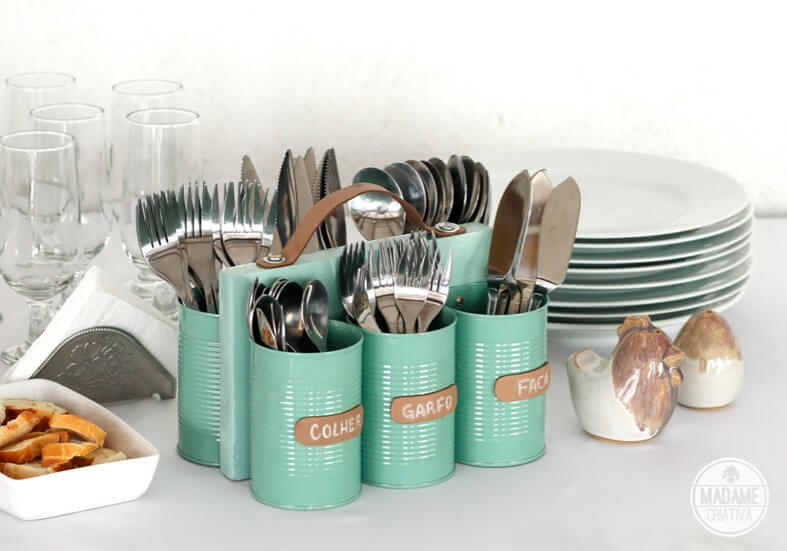 Turqoise Can Bottle Cutlery Storage