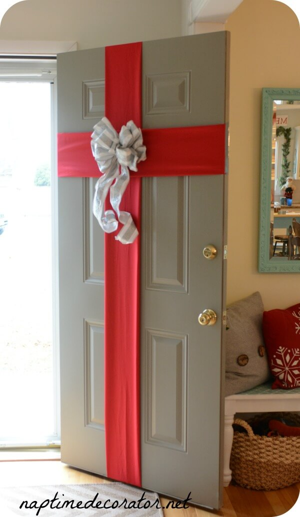 Front Door Christmas Present Gift Wrap