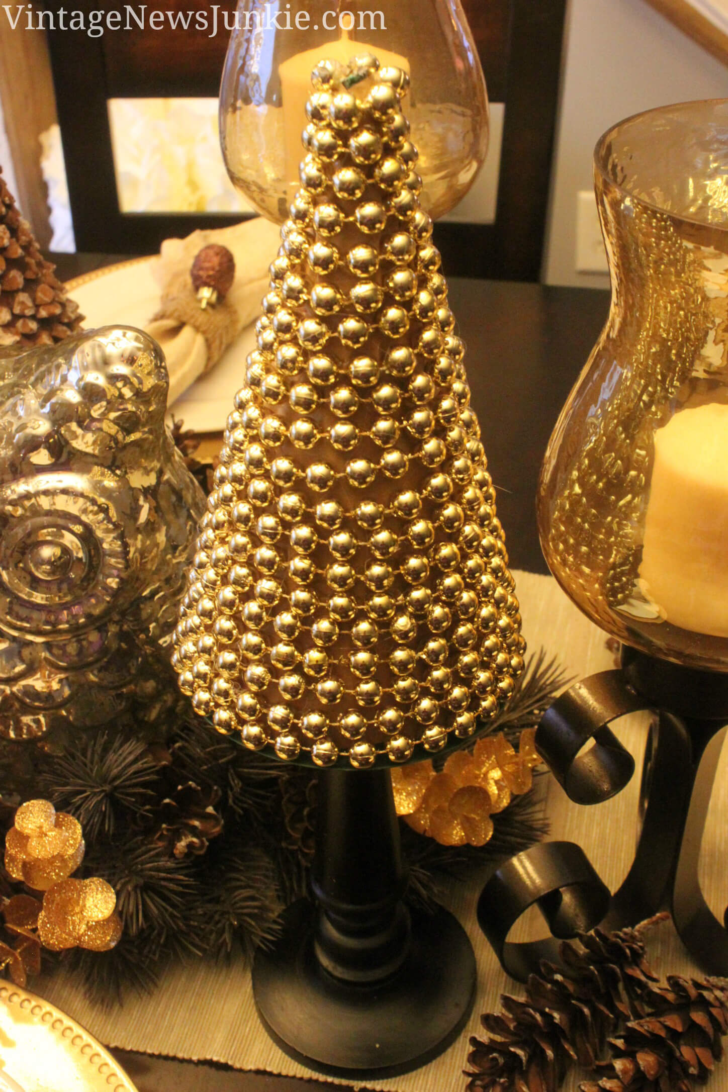 Gold Bead Pedestal Tree Accent