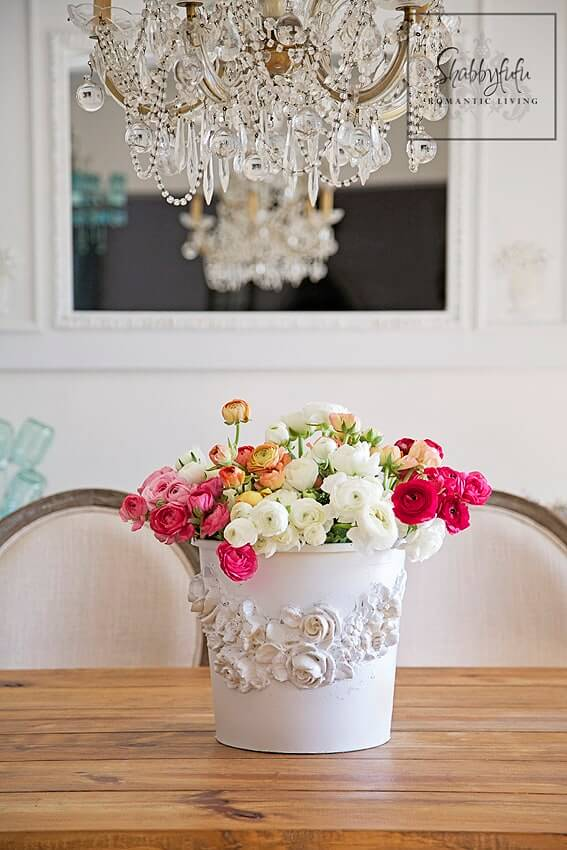 Cute White Florist Bucket Transformation