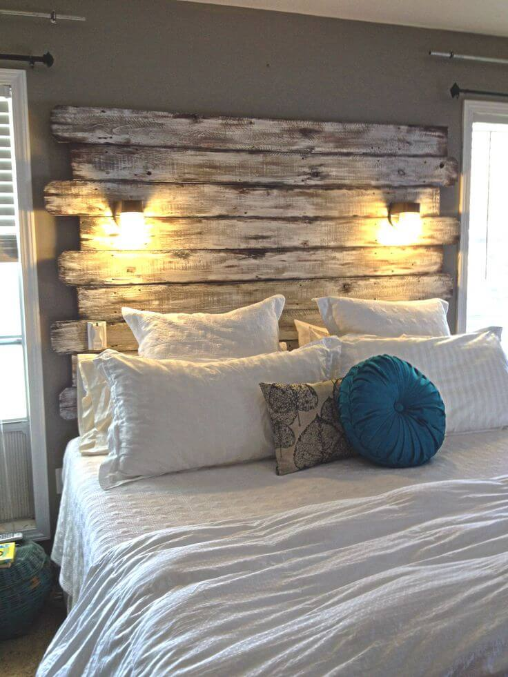 Barn Wood Headboard and Statement Wall