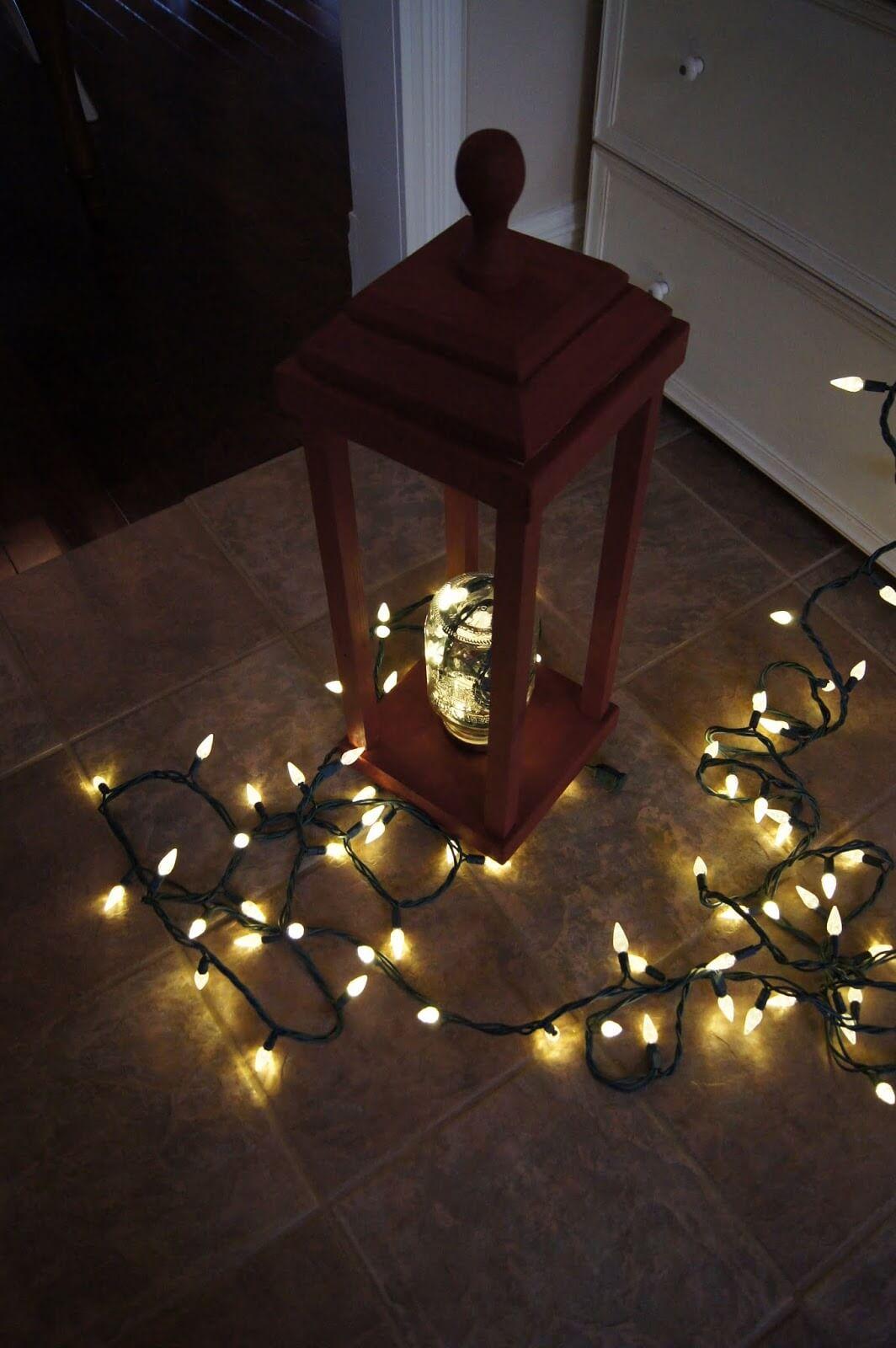 Charming Wooden Lantern with Mason Jar Light