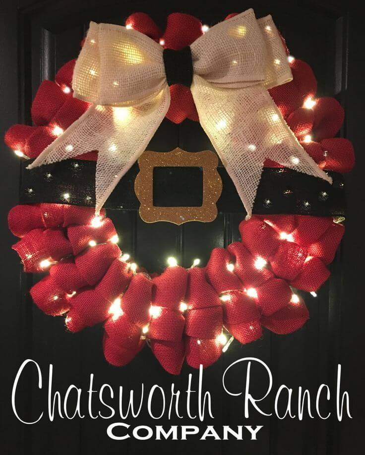 Lighted Santa's Belt Ruffled Wreath