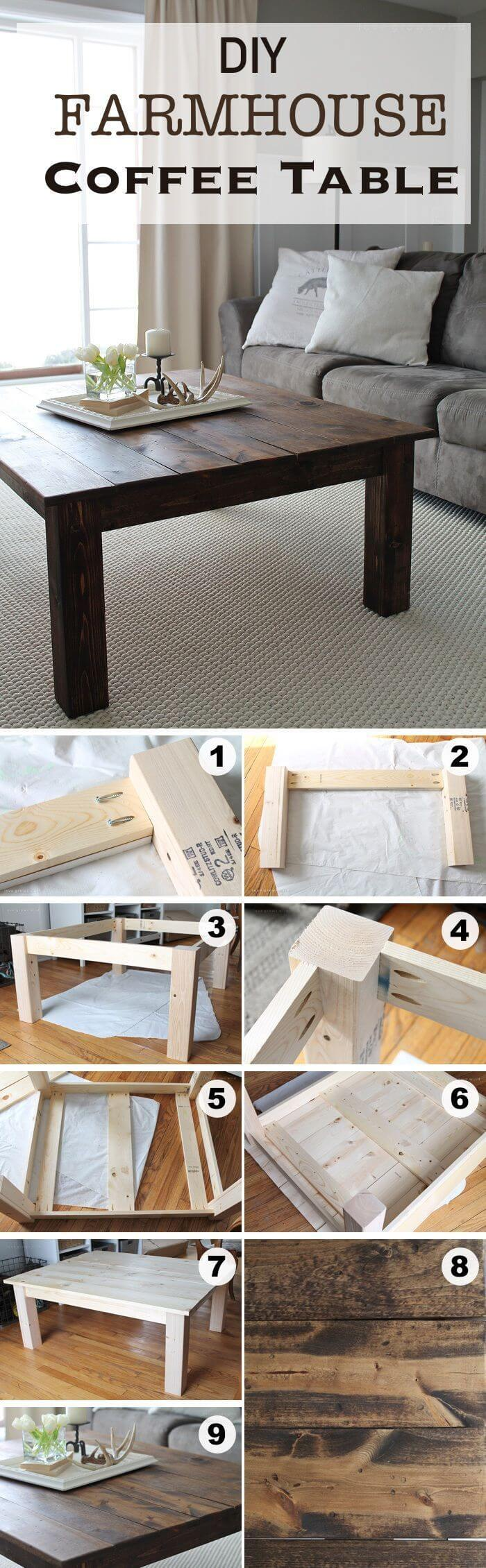 Basic Blocky DIY Farmhousee Coffe Table Ideas