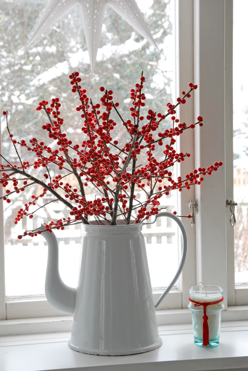 Berry Spray in White Porcelain Pitcher