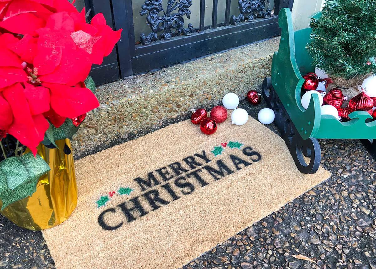 Merry Christmas Holly Berry Door Mat
