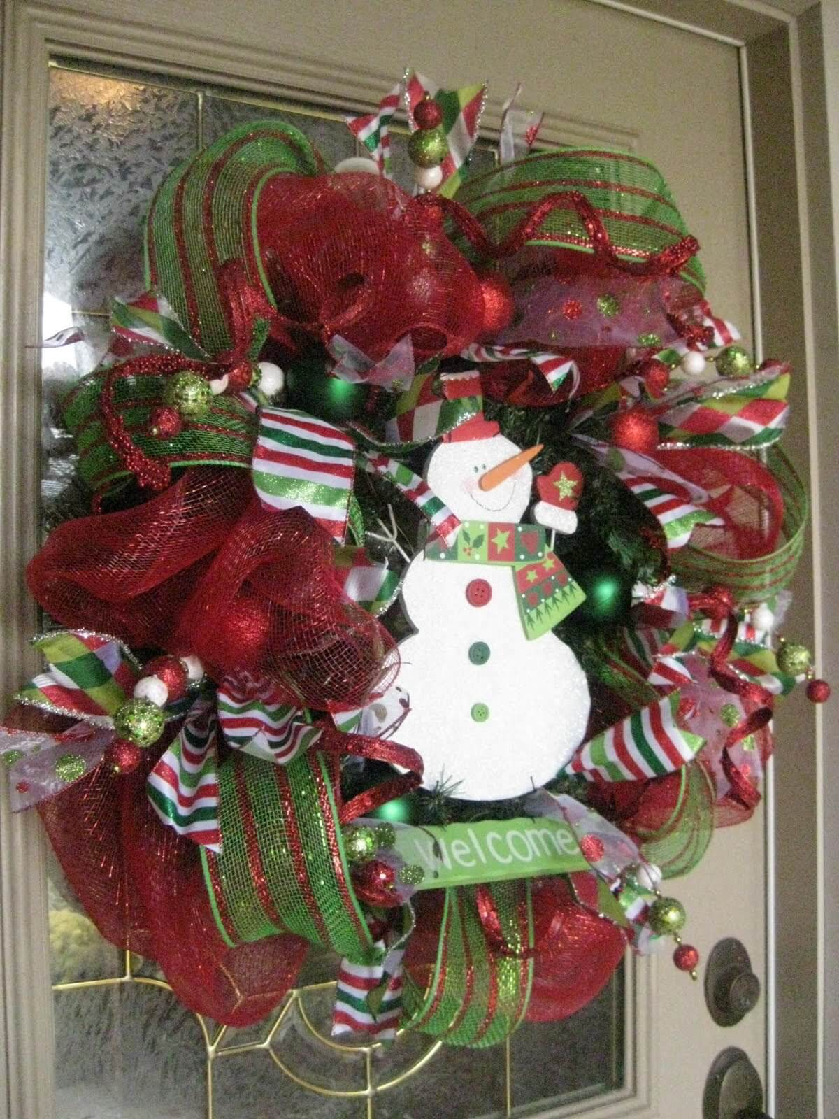 Christmas Bow Front Door Wreath and Snowman
