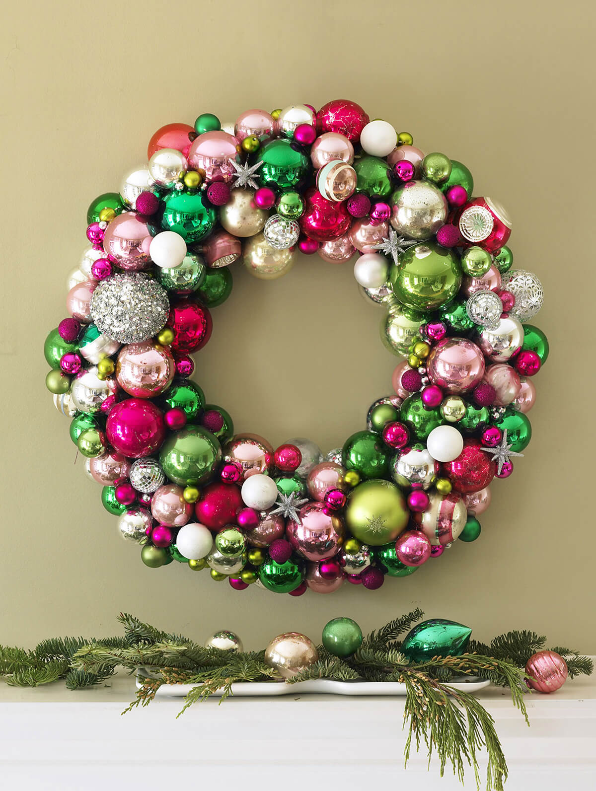 Amazing Mixed Ornament Indoor Wreath