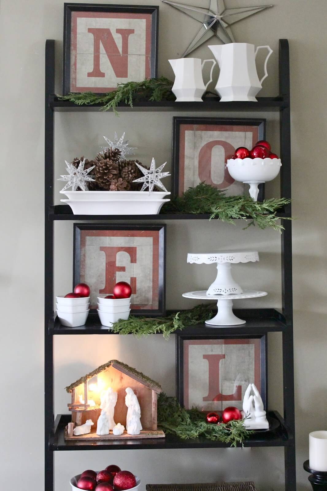 NOEL Christmas Keepsakes Shelf Idea