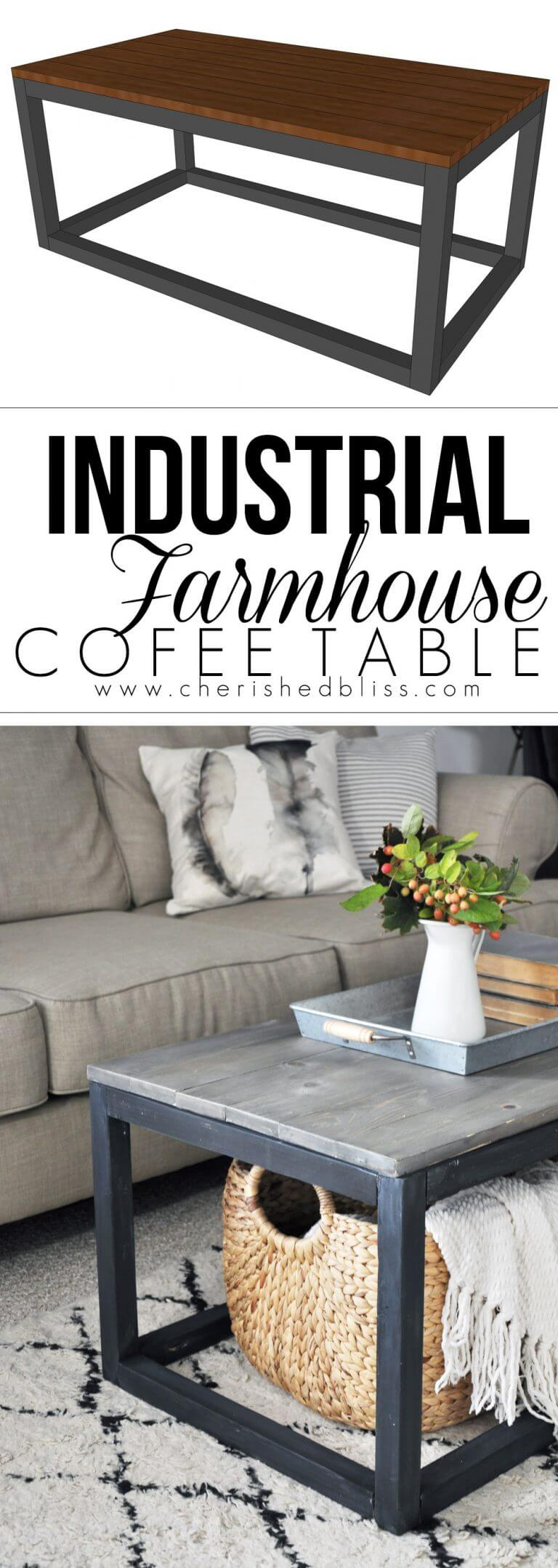 Simple Industrial to Farmhouse Furniture Makeover