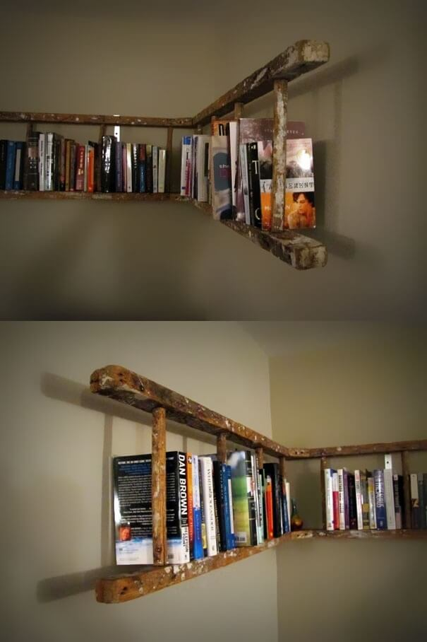 Wraparound Distressed Hanging Bookshelf Design