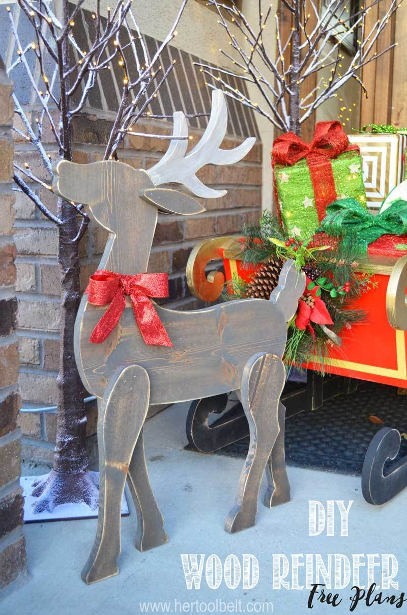 Hand Carved Wood Reindeer Silhouette