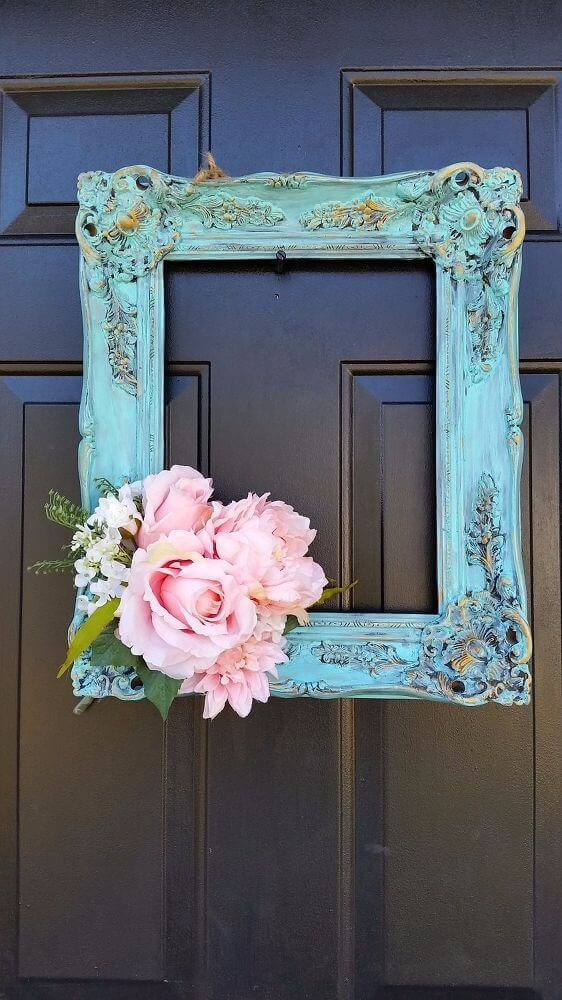 Repurposed Frame and Peonies Door Hanger
