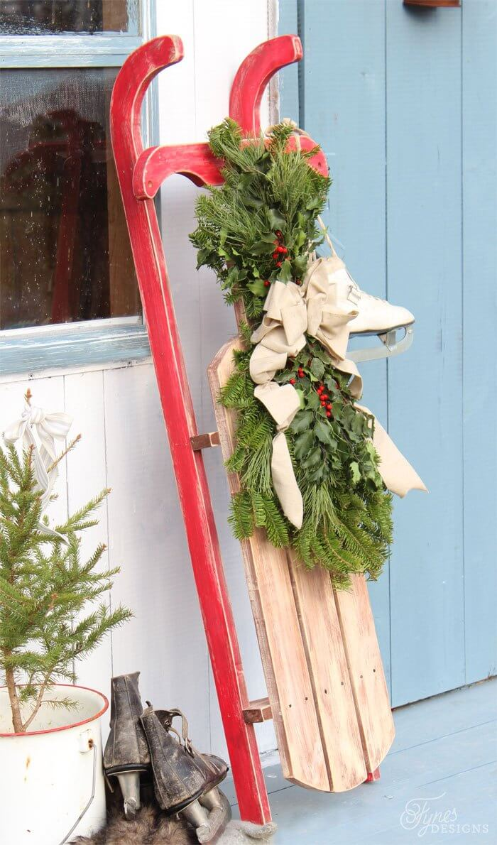 Wood Toboggan and Bunched Wreath Display