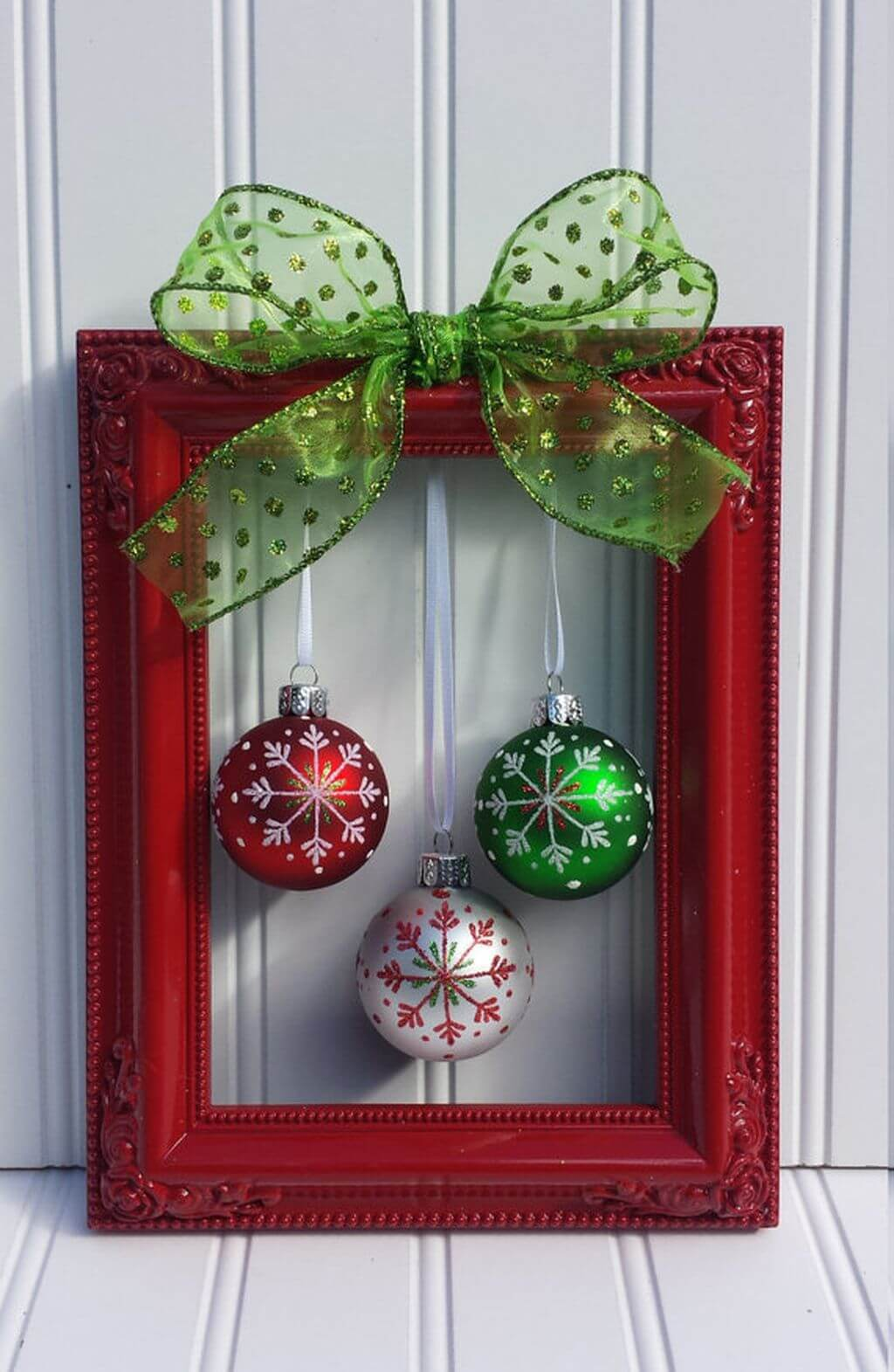 red white and green ornaments worth framing - Red And Green Christmas Decorations