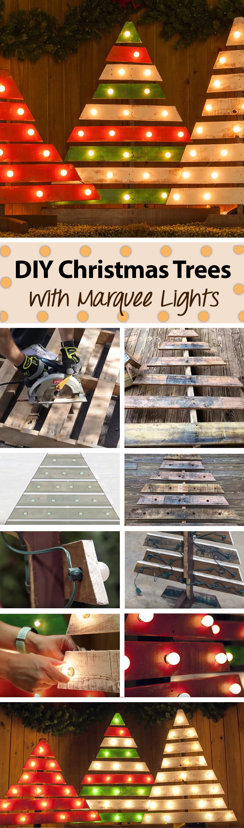 Repurposed Wood Pallet with Marquee Lighting