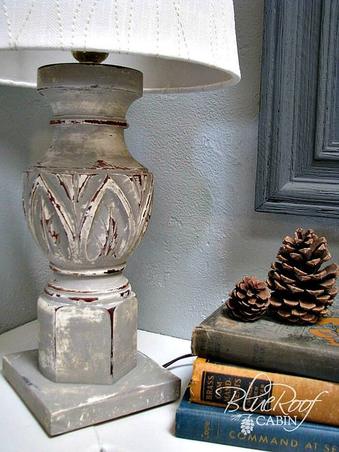 Gently Aged Newel Post Lamp