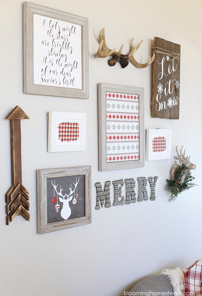 farmhouse style holiday gallery wall