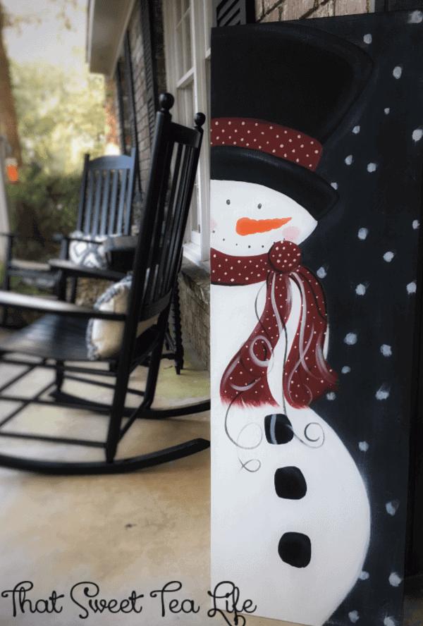 Hand Painted Crisp Winter Snowman Sign