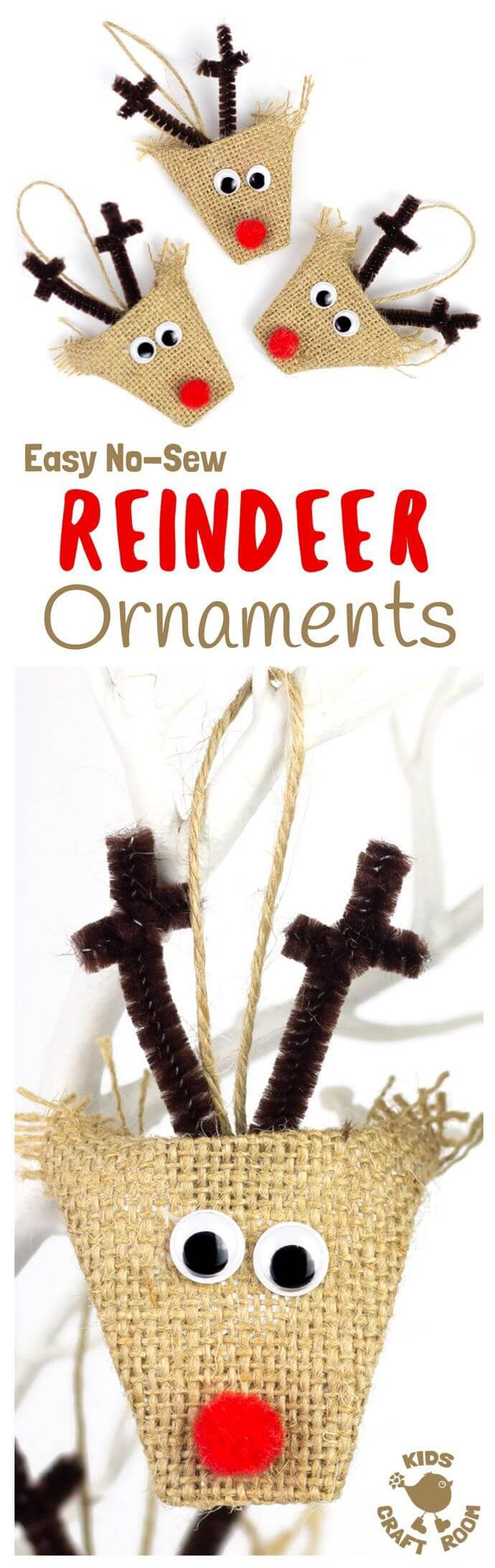 Family-Friendly No Sew Rudolph Ornaments