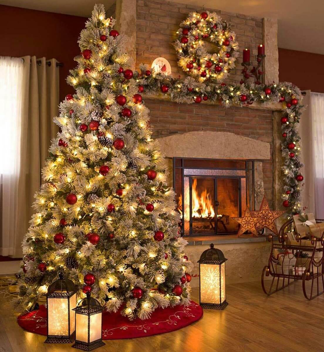 red berry balls night lamps and fireplace - How To Decorate A Small Living Room For Christmas