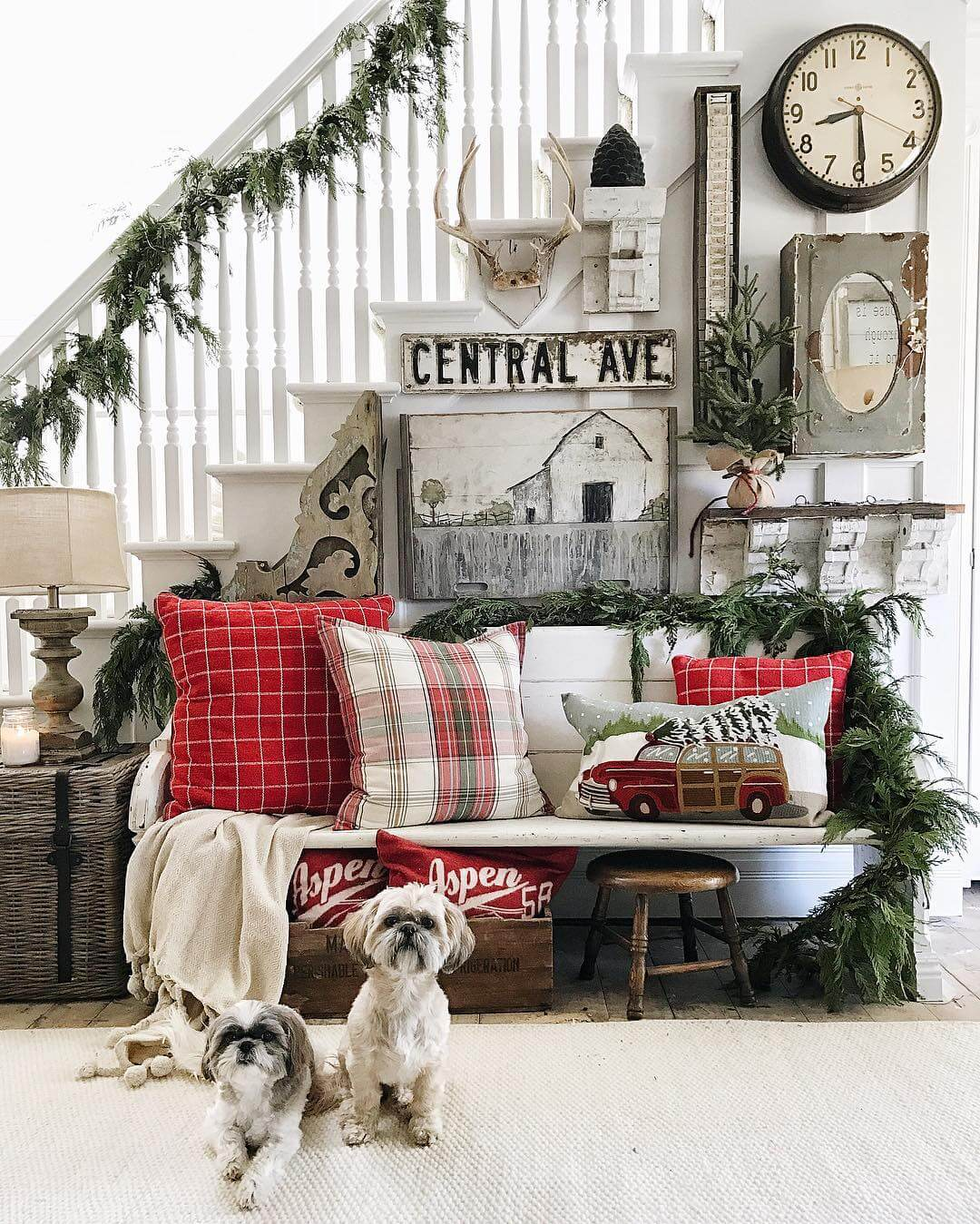 Bench Clad in Red Plaid and Garland