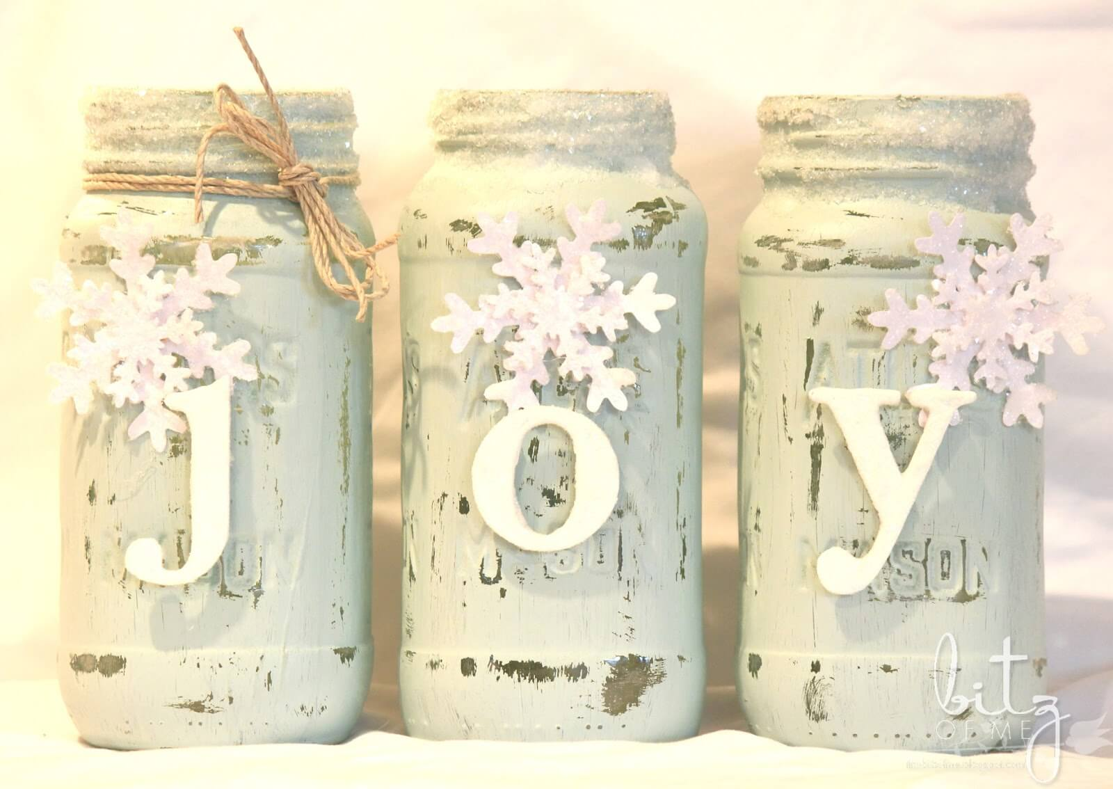 Distressed White Mason Jar Christmas Craft