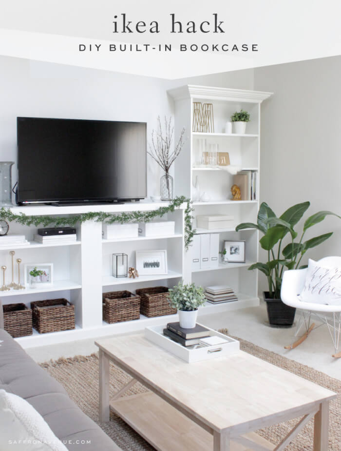 Unobtrusive White Wall Bookcase for Living Room