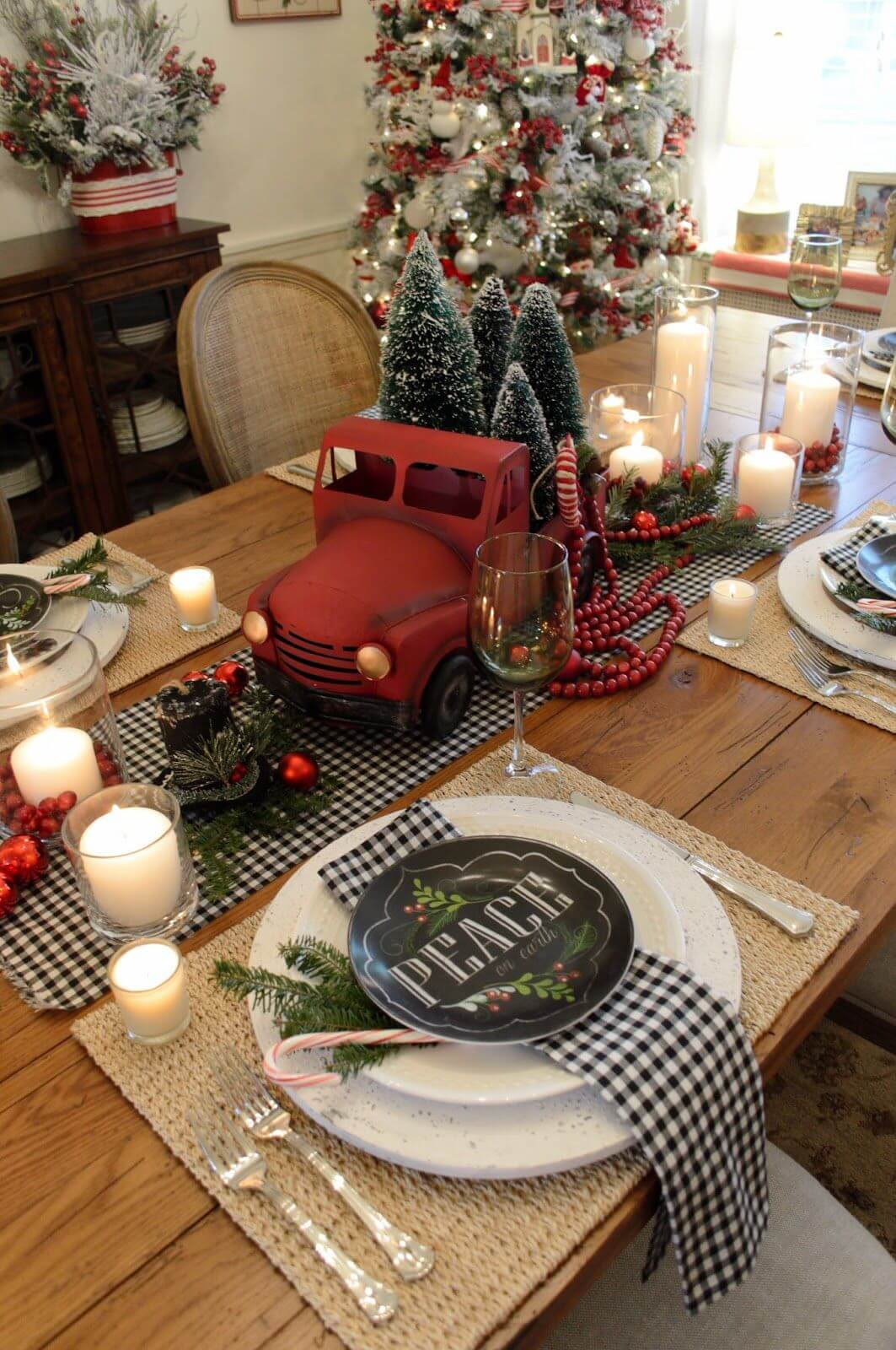 break up red with black plaid - Red And Black Plaid Christmas Decor