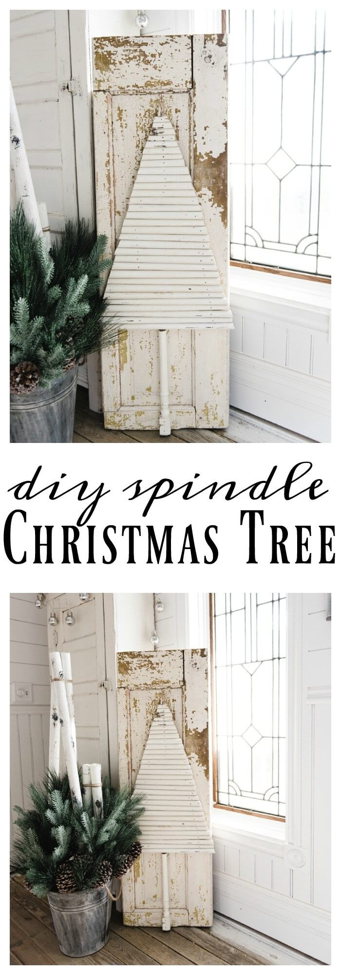 Primitive Wooden Christmas Tree and Door