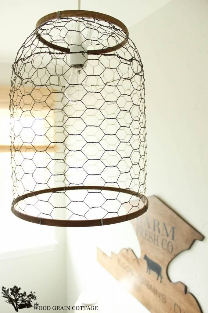 Farmhouse Style Light with Chicken Wire