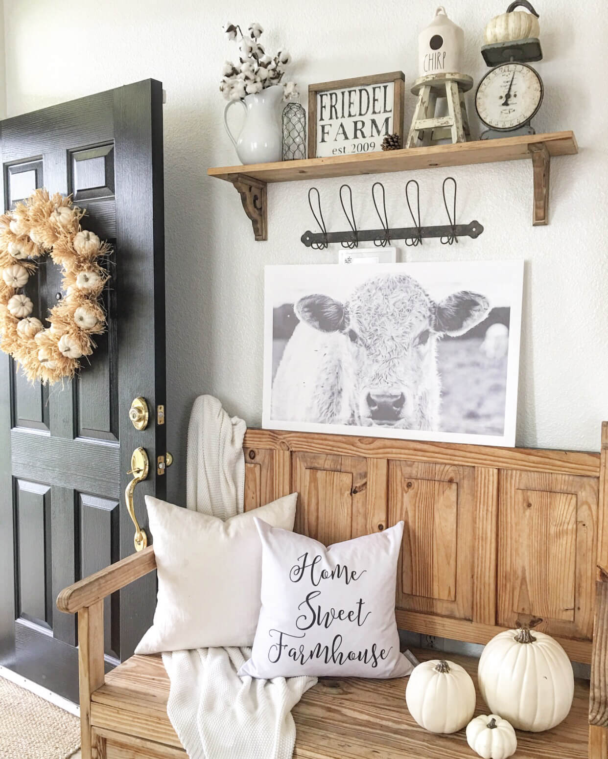 Oak Bench, White Pumpkins, and Cow Prints