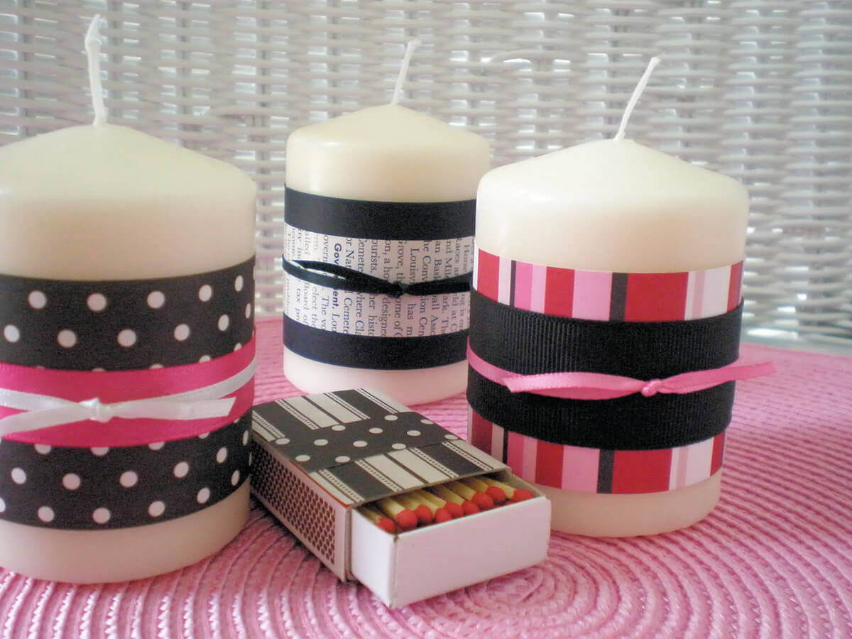 Patterned Ribbon Will Transform a Plain Candle