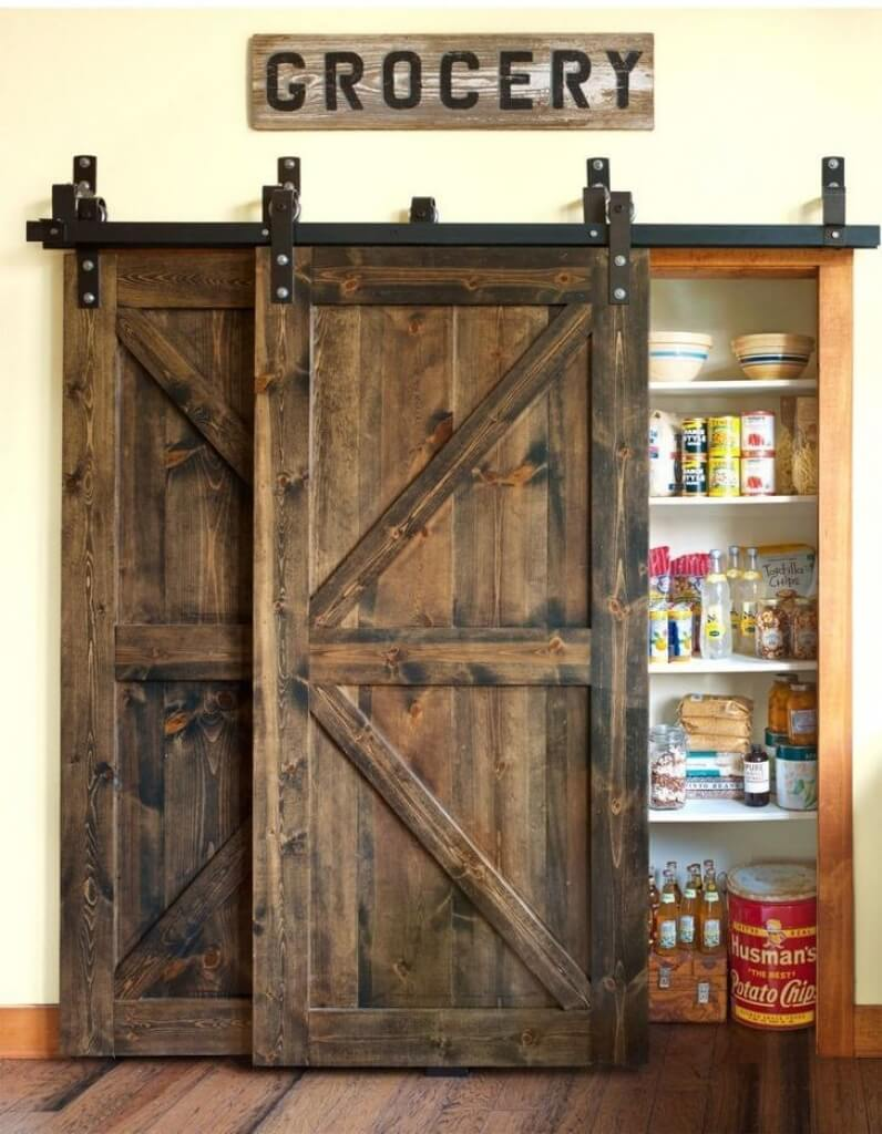 Barn Door Pantry with Vintage Accessories