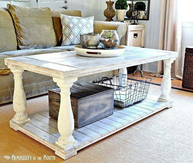 Rustic Newel Post Coffee Table
